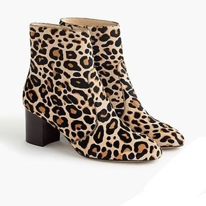 NWT J. Crew Ankle boots in leopard calf hair